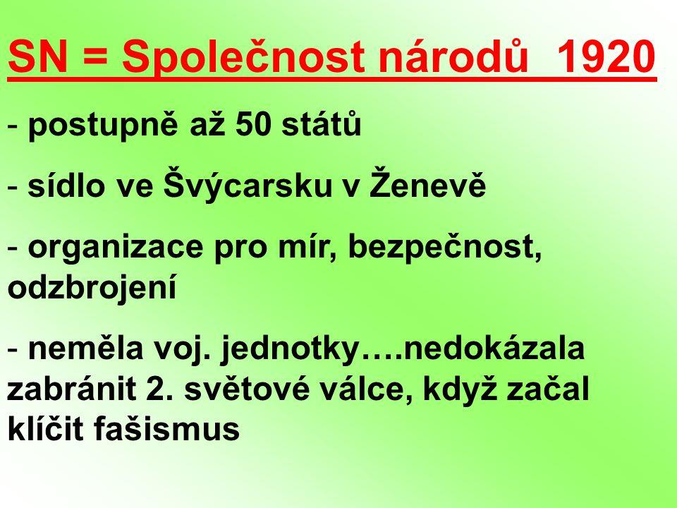 SN = Společnost národů 1920 postupně až 50 států