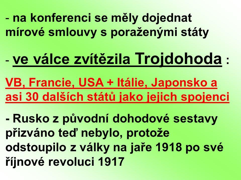 na konferenci se měly dojednat mírové smlouvy s poraženými státy