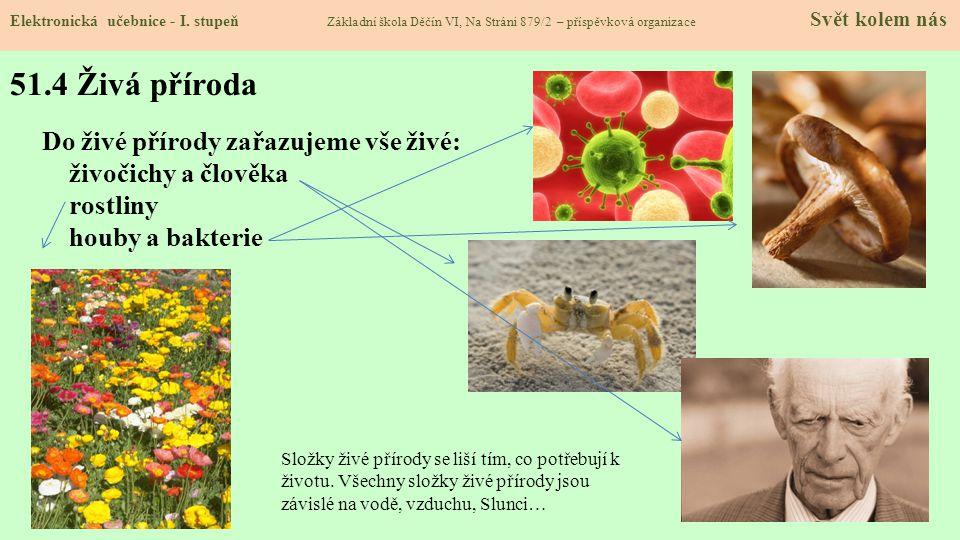 51.4 Živá příroda Do živé přírody zařazujeme vše živé: