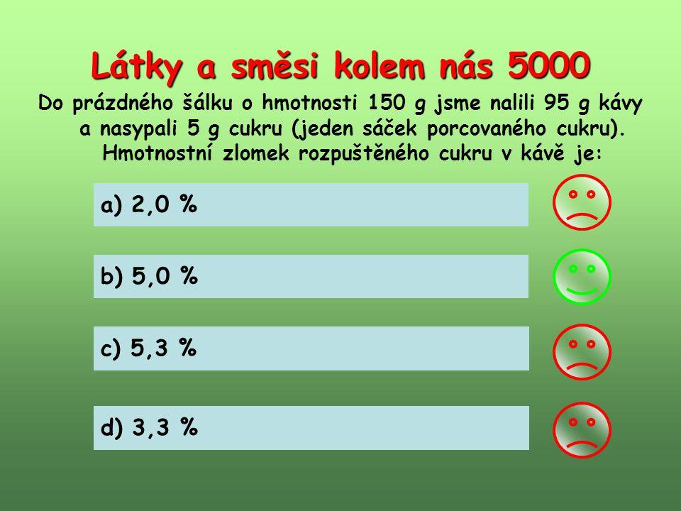 Látky a směsi kolem nás 5000 a) 2,0 % b) 5,0 % c) 5,3 % d) 3,3 %