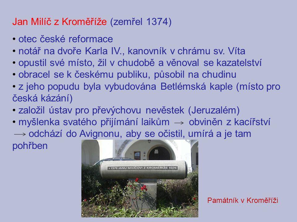 Jan Milíč z Kroměříže (zemřel 1374) otec české reformace