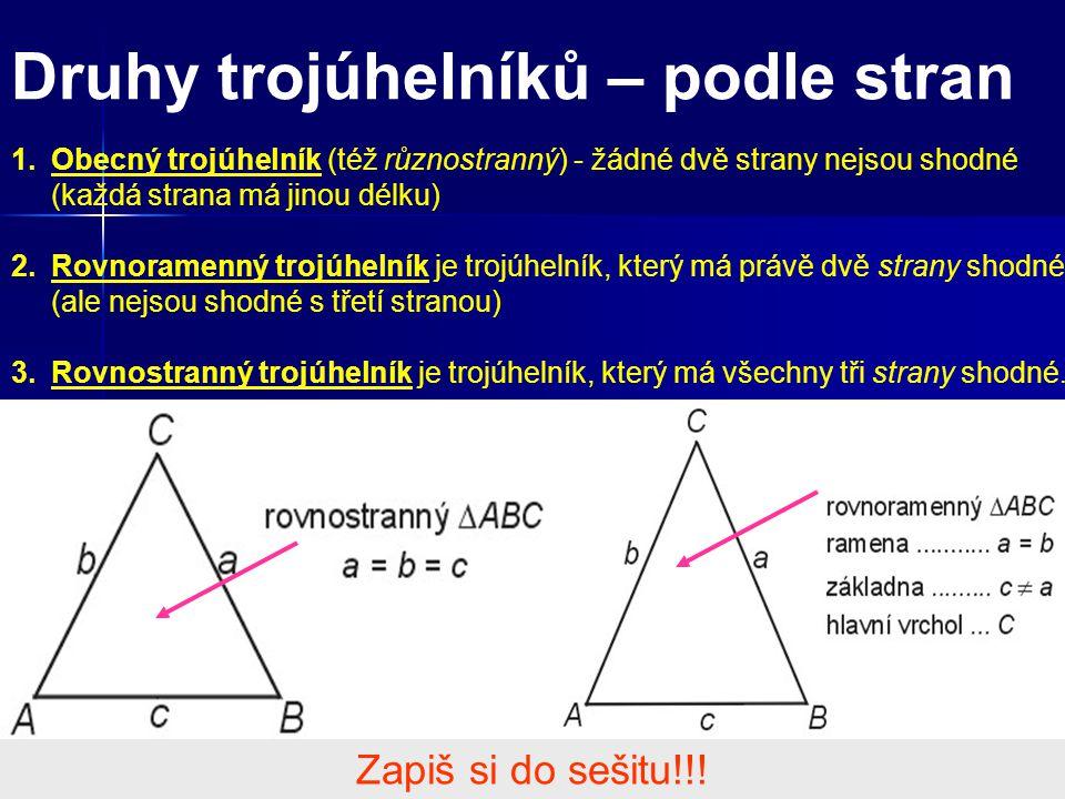 Druhy trojúhelníků – podle stran