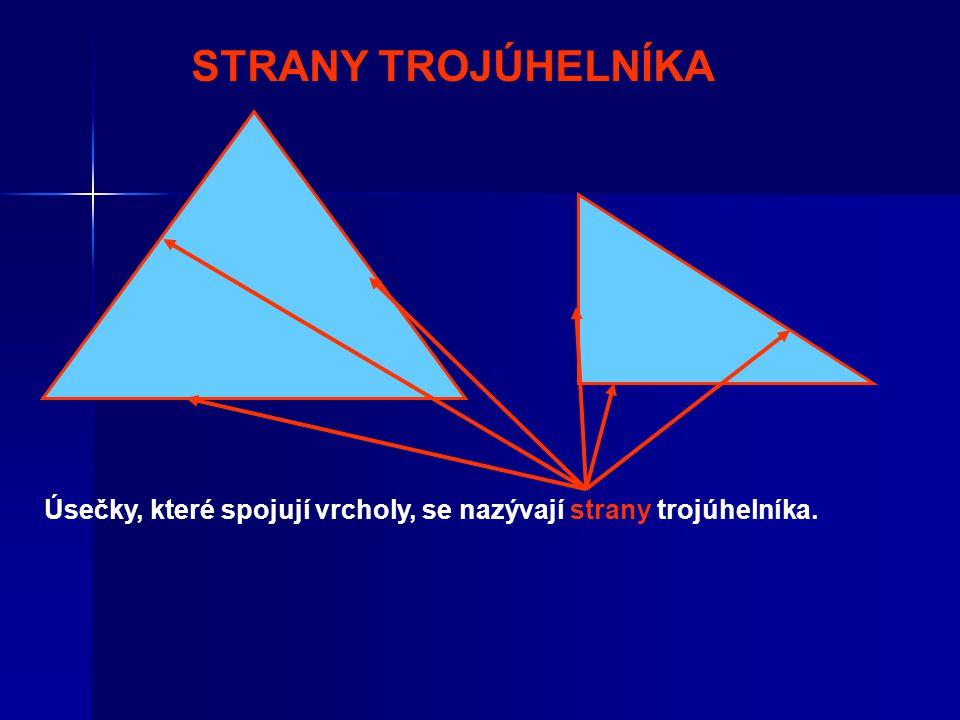 STRANY TROJÚHELNÍKA Úsečky, které spojují vrcholy, se nazývají strany trojúhelníka.