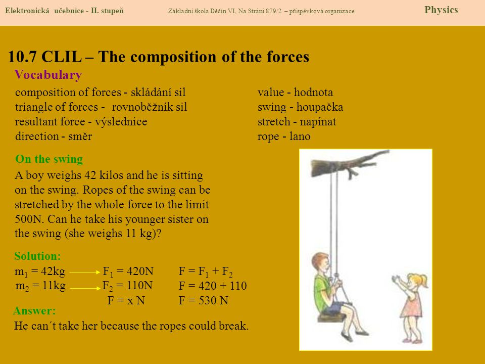 10.7 CLIL – The composition of the forces