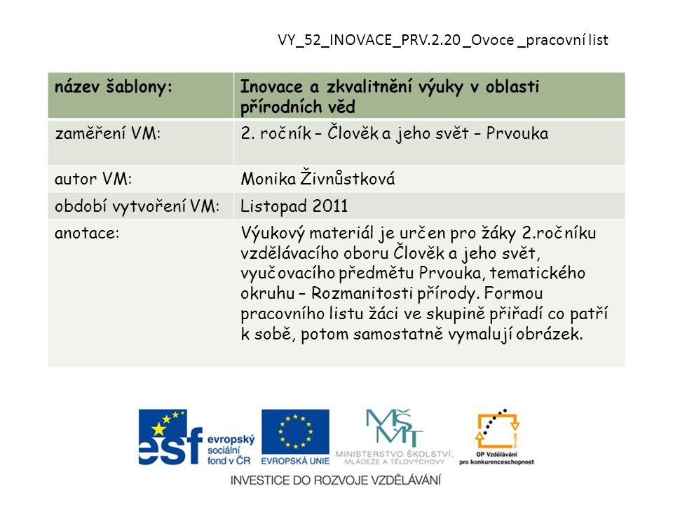 VY_52_INOVACE_PRV.2.20 _Ovoce _pracovní list