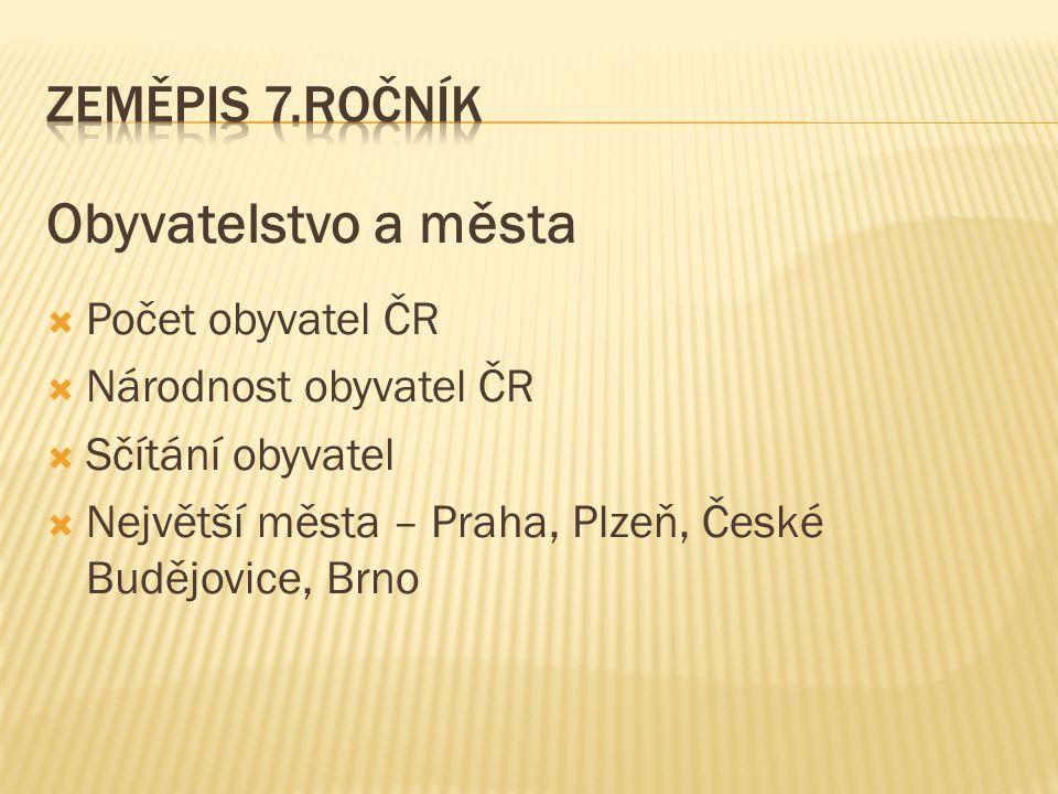 Obyvatelstvo a města Zeměpis 7.ročník Počet obyvatel ČR