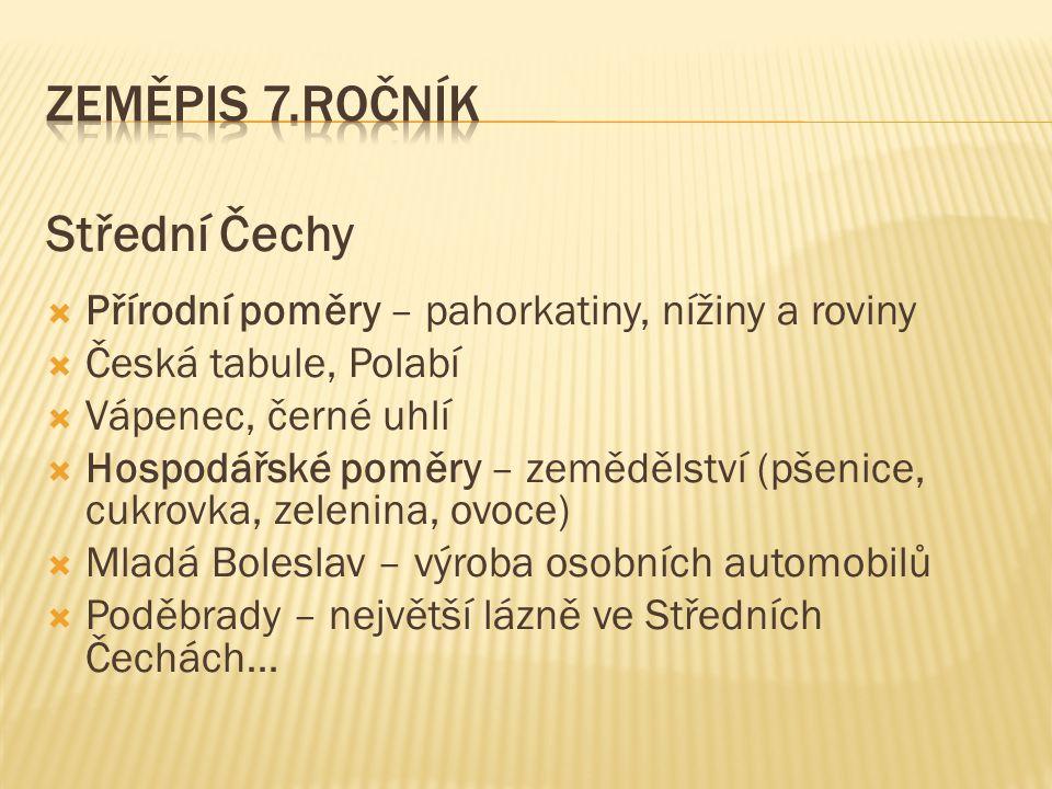 Zeměpis 7.ročník Střední Čechy