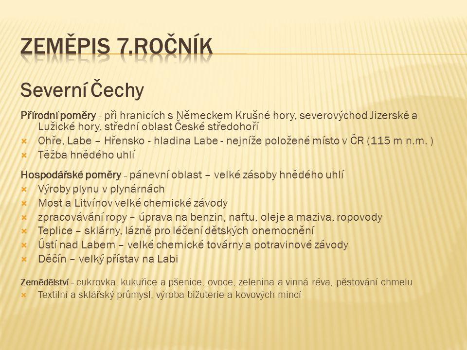 Zeměpis 7.ročník Severní Čechy