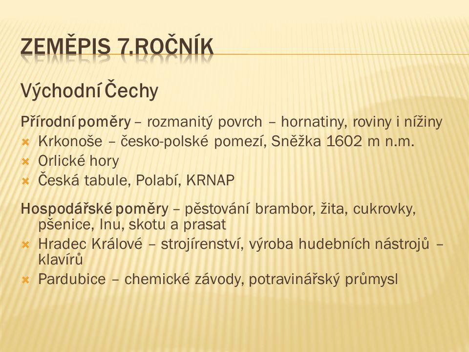 Zeměpis 7.ročník Východní Čechy