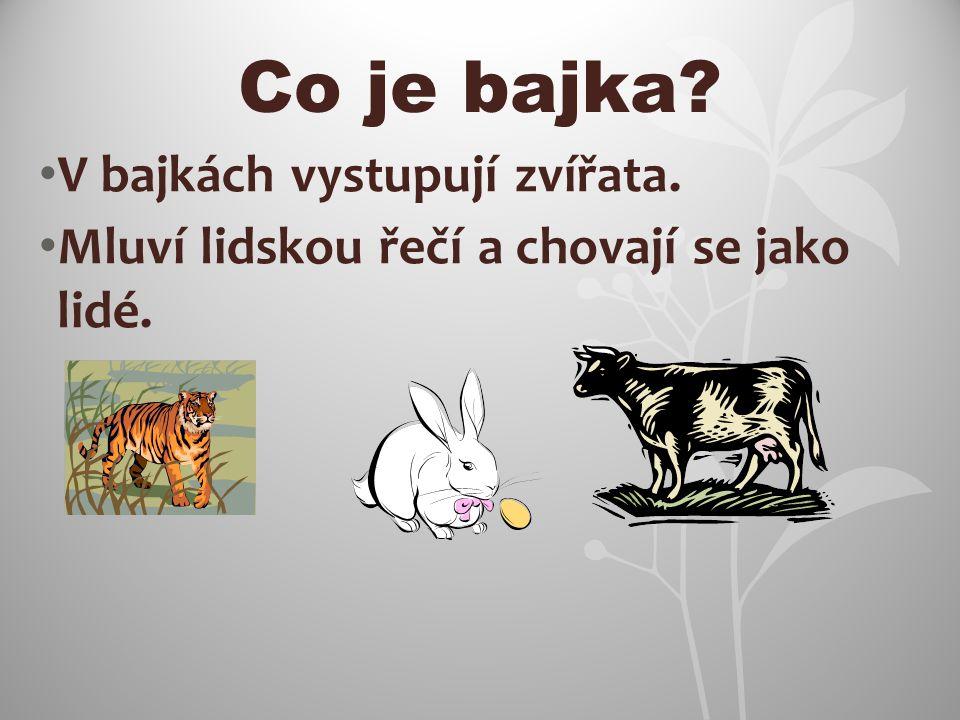 Co je bajka V bajkách vystupují zvířata.