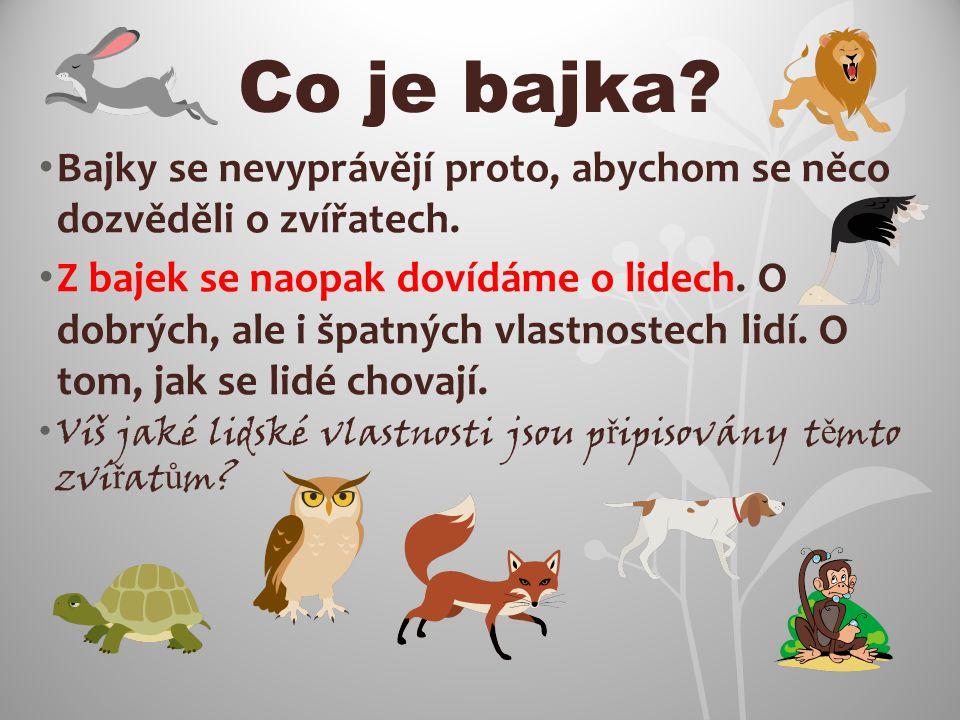 Co je bajka Bajky se nevyprávějí proto, abychom se něco dozvěděli o zvířatech.