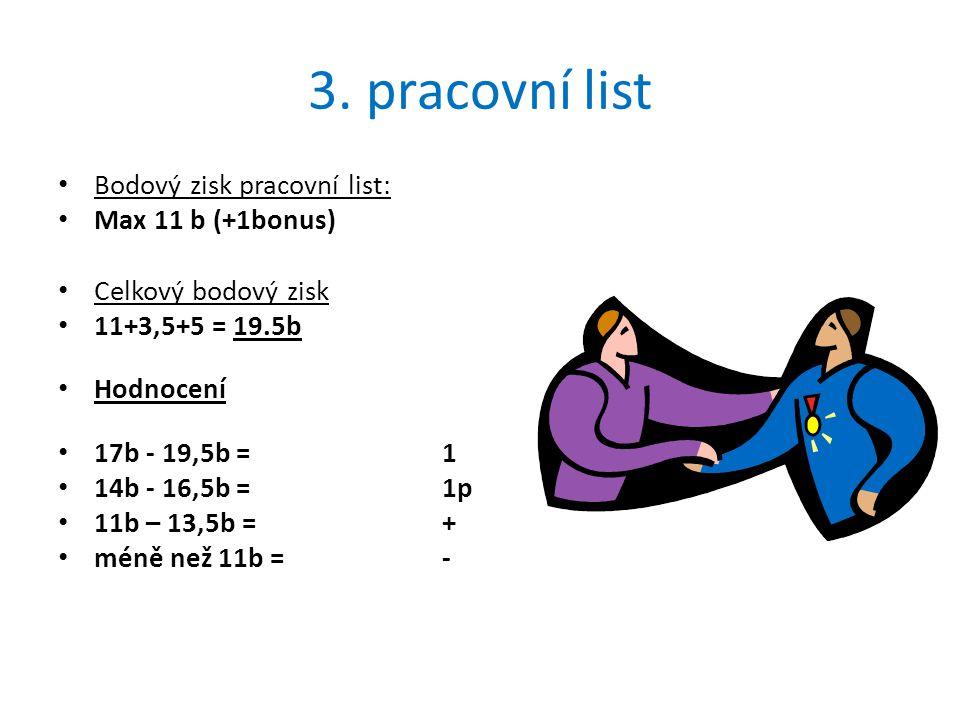 3. pracovní list Bodový zisk pracovní list: Max 11 b (+1bonus)