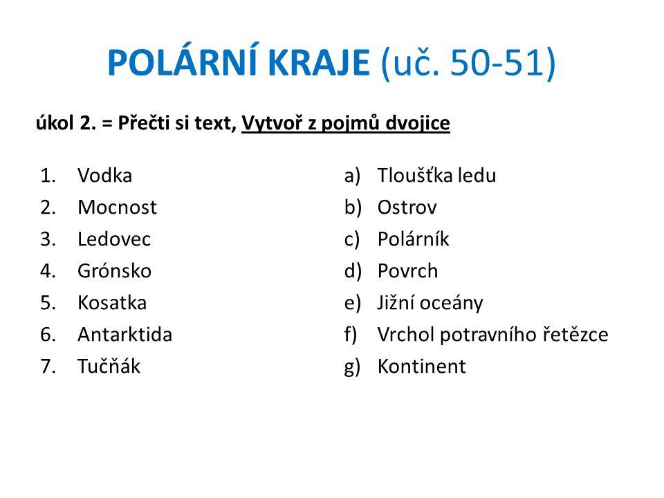 POLÁRNÍ KRAJE (uč. 50-51) úkol 2. = Přečti si text, Vytvoř z pojmů dvojice. Vodka. Mocnost. Ledovec.