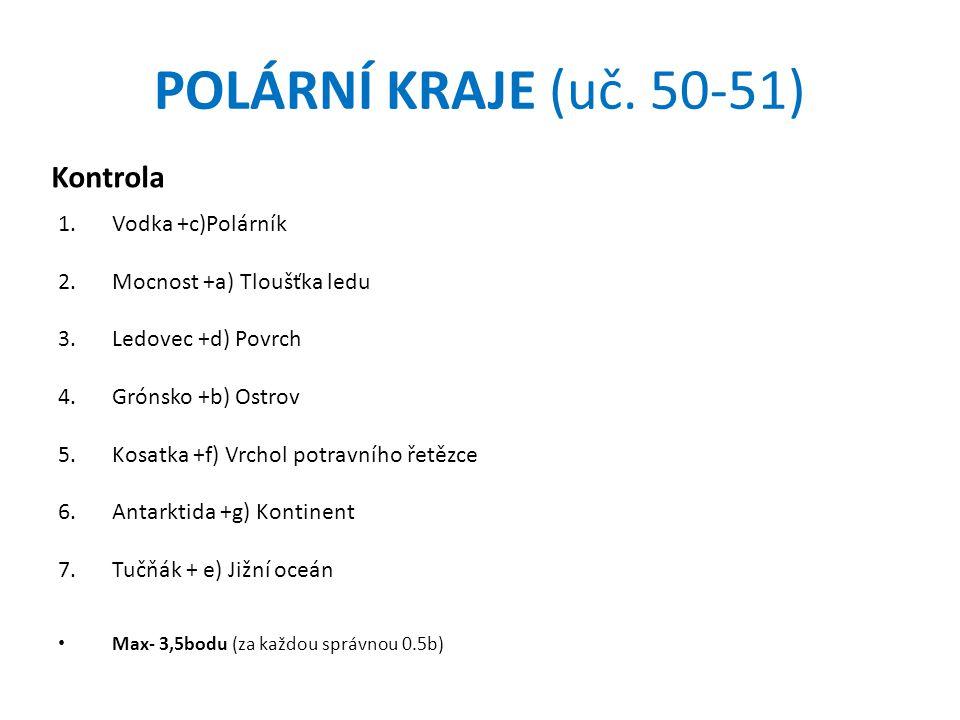 POLÁRNÍ KRAJE (uč. 50-51) Kontrola Vodka +c)Polárník