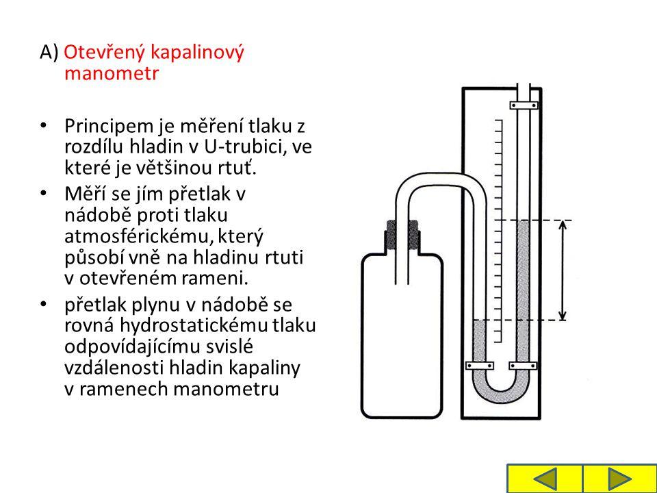 A) Otevřený kapalinový manometr