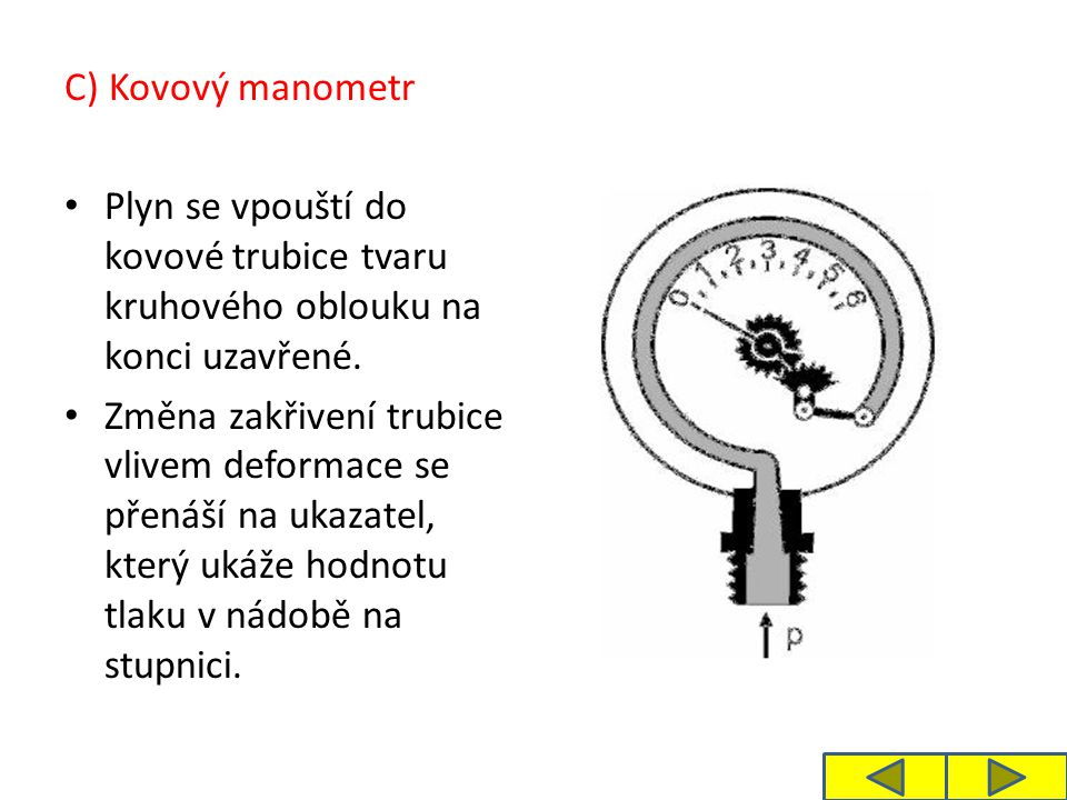 C) Kovový manometr Plyn se vpouští do kovové trubice tvaru kruhového oblouku na konci uzavřené.
