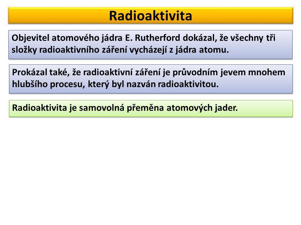 Radioaktivita Objevitel atomového jádra E. Rutherford dokázal, že všechny tři složky radioaktivního záření vycházejí z jádra atomu.