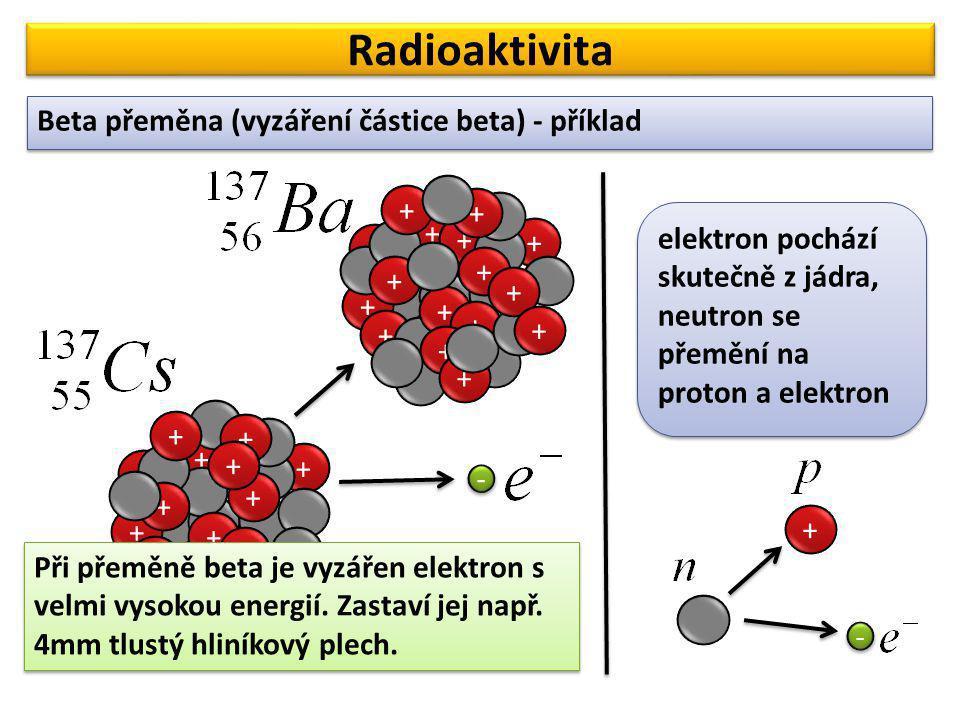 Radioaktivita Beta přeměna (vyzáření částice beta) - příklad + + +