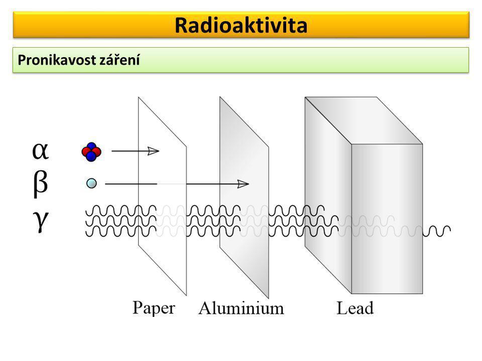 Radioaktivita Pronikavost záření