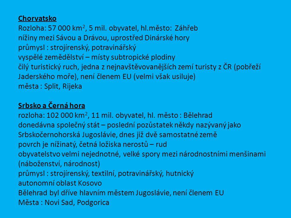 Chorvatsko Rozloha: 57 000 km2, 5 mil. obyvatel, hl.město: Záhřeb. nížiny mezi Sávou a Drávou, uprostřed Dinárské hory.