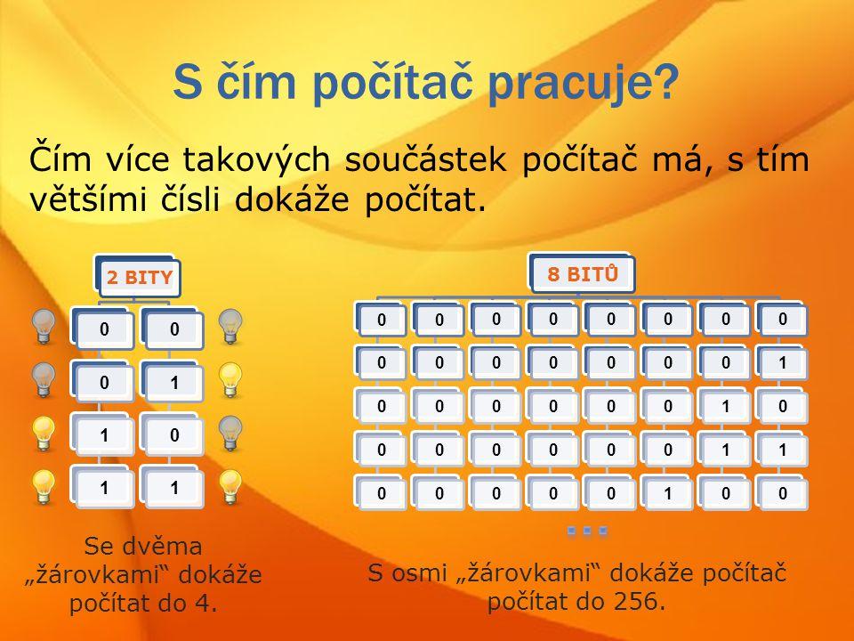 S čím počítač pracuje Čím více takových součástek počítač má, s tím většími čísli dokáže počítat.