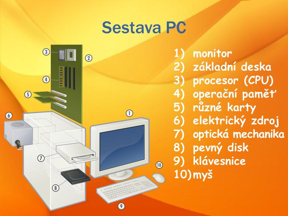 Sestava PC monitor základní deska procesor (CPU) operační paměť