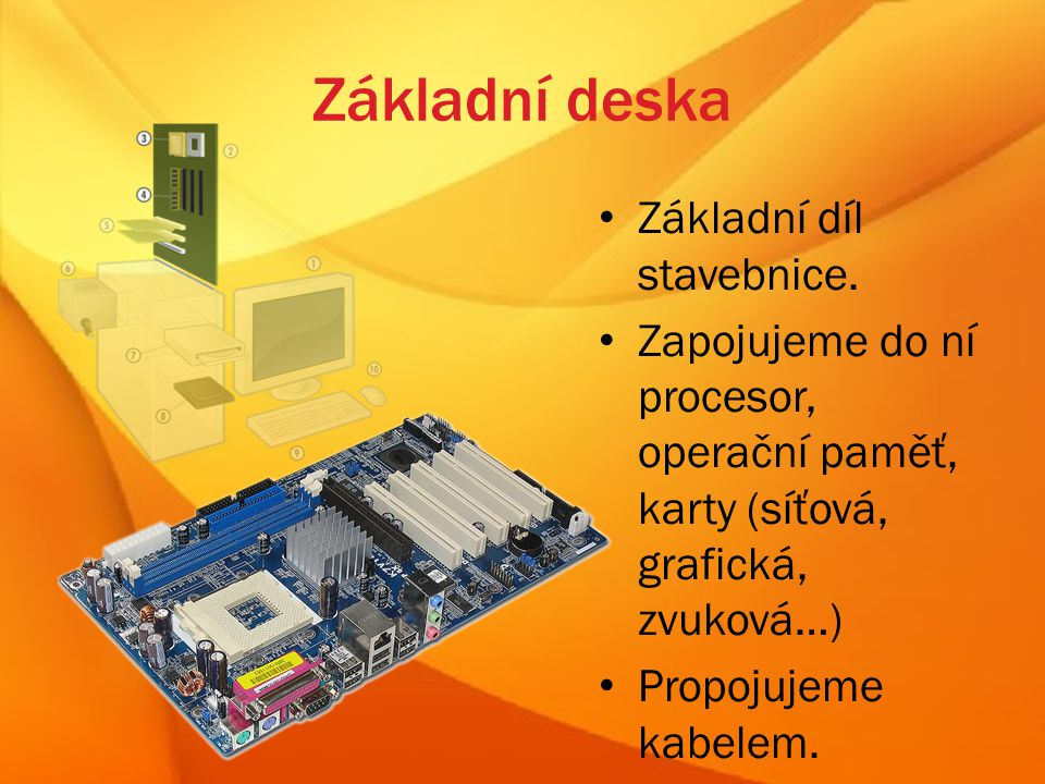 Základní deska Základní díl stavebnice.