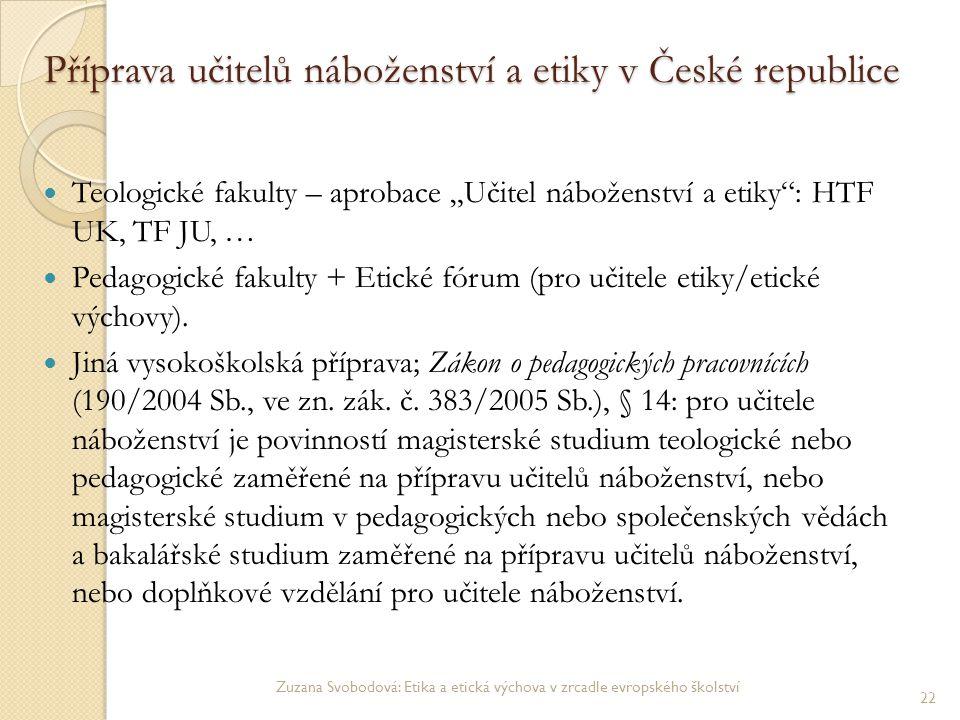 Příprava učitelů náboženství a etiky v České republice