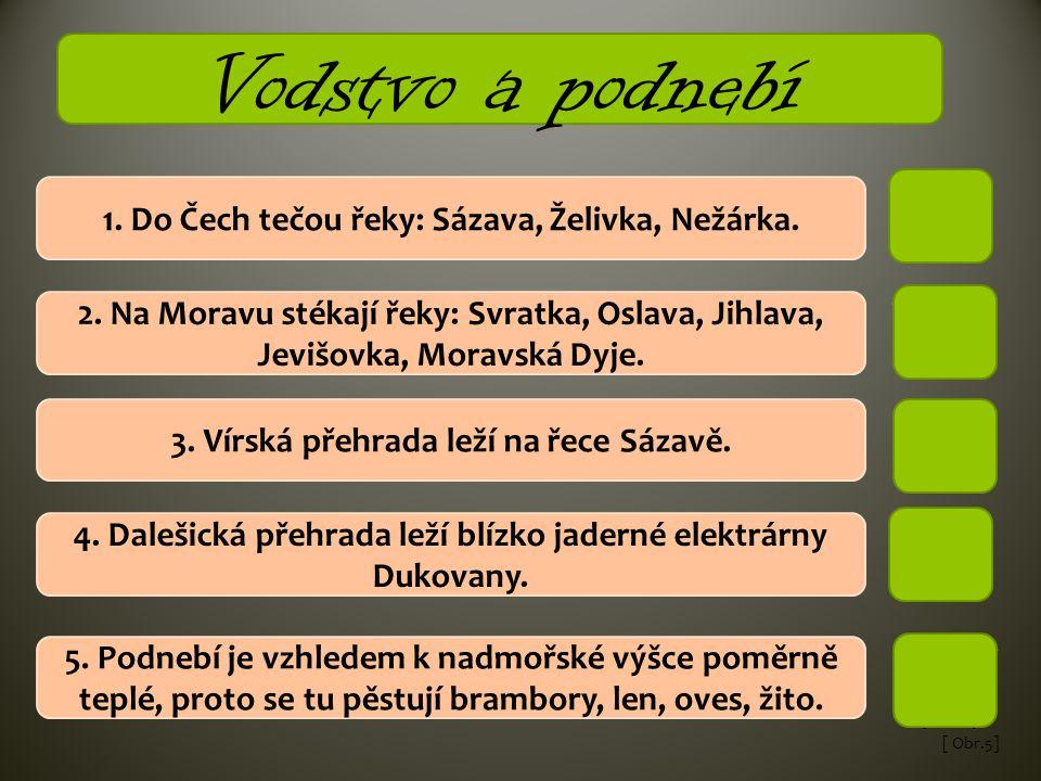 Vodstvo a podnebí 1. Do Čech tečou řeky: Sázava, Želivka, Nežárka.