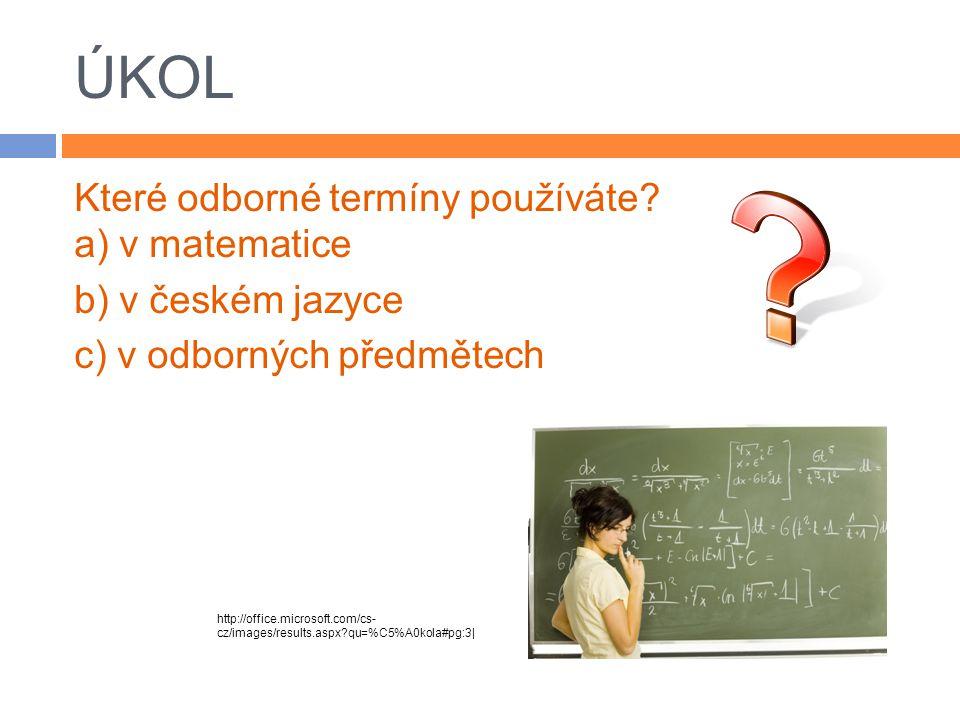 ÚKOL Které odborné termíny používáte a) v matematice b) v českém jazyce c) v odborných předmětech