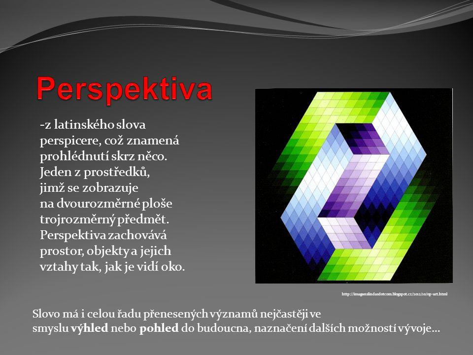 Perspektiva z latinského slova perspicere, což znamená prohlédnutí skrz něco. Jeden z prostředků, jimž se zobrazuje.