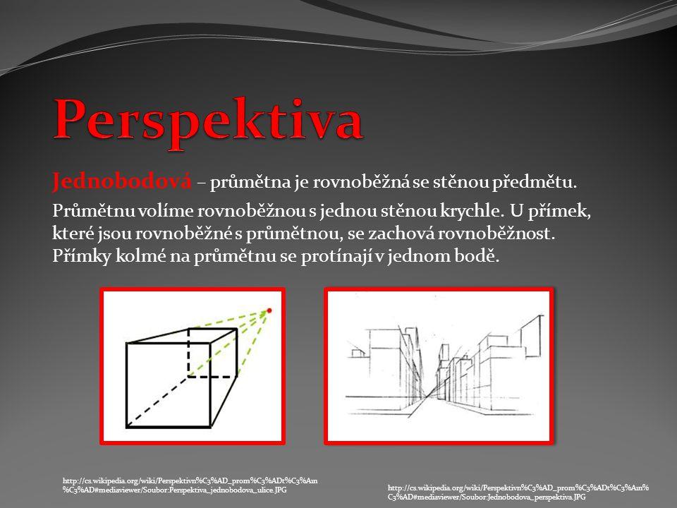 Perspektiva Jednobodová – průmětna je rovnoběžná se stěnou předmětu.