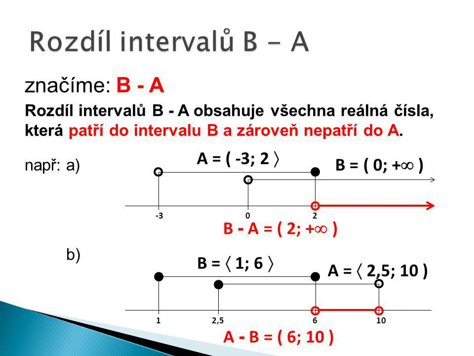 Rozdíl intervalů B - A značíme: B - A A = ( -3; 2  B = ( 0; + )