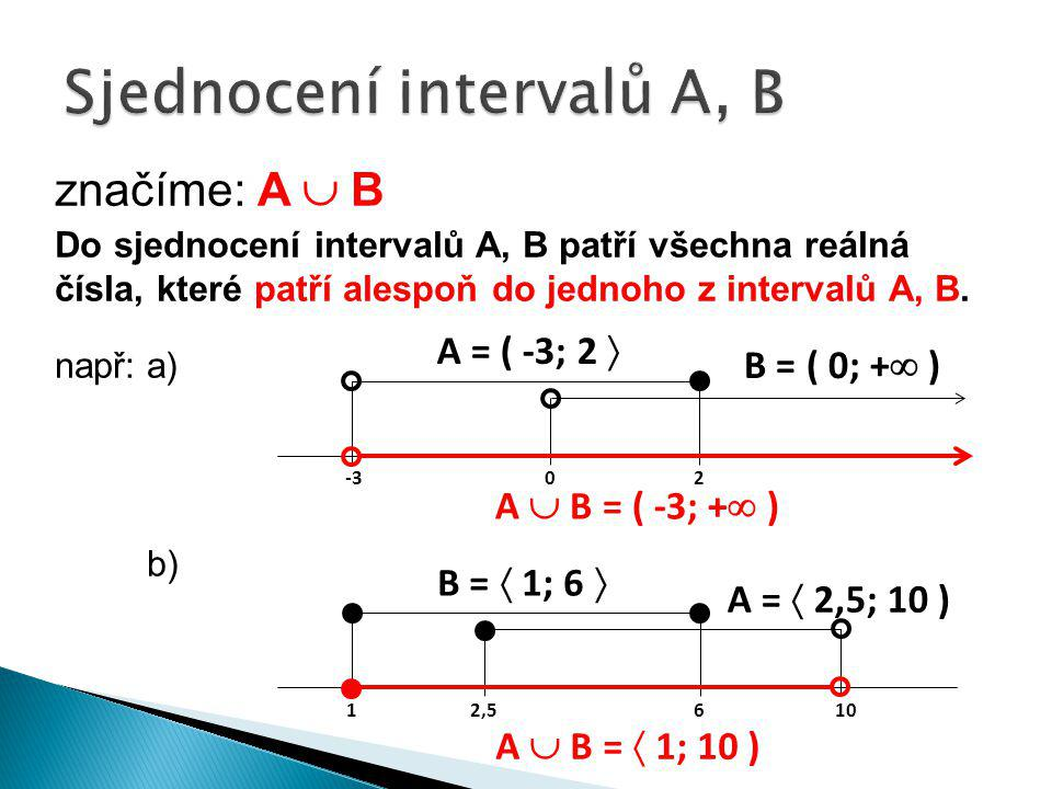 Sjednocení intervalů A, B