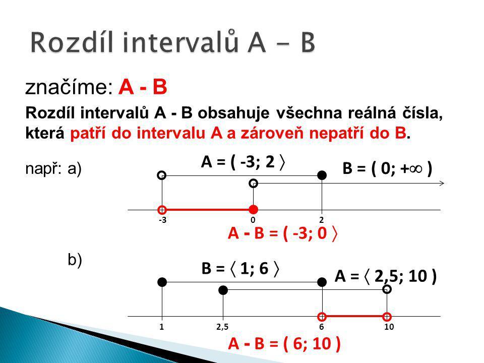 Rozdíl intervalů A - B značíme: A - B A = ( -3; 2  B = ( 0; + )