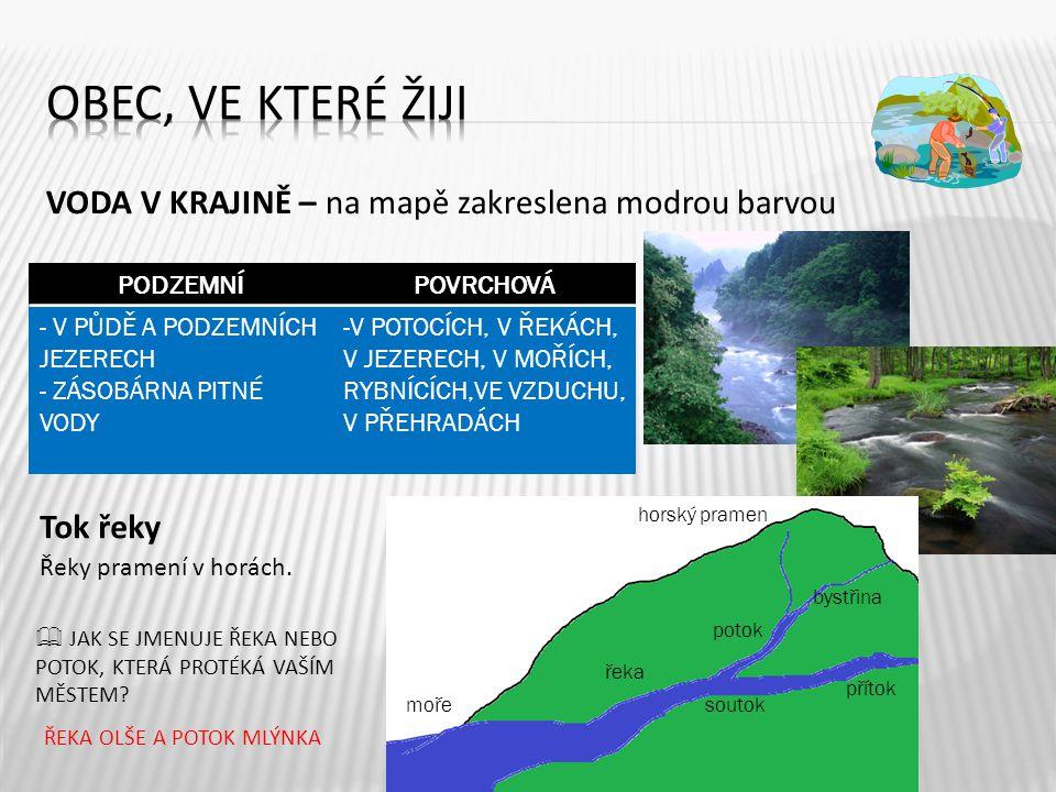Obec, ve které žiji VODA V KRAJINĚ – na mapě zakreslena modrou barvou