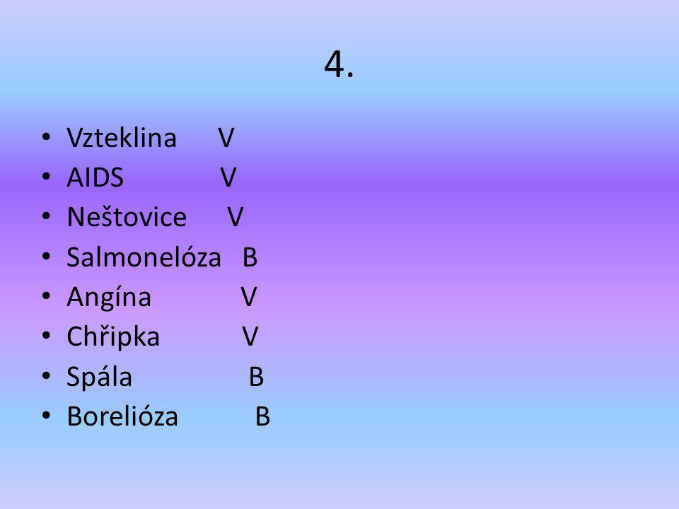 4. Vzteklina V AIDS V Neštovice V Salmonelóza B Angína V Chřipka V