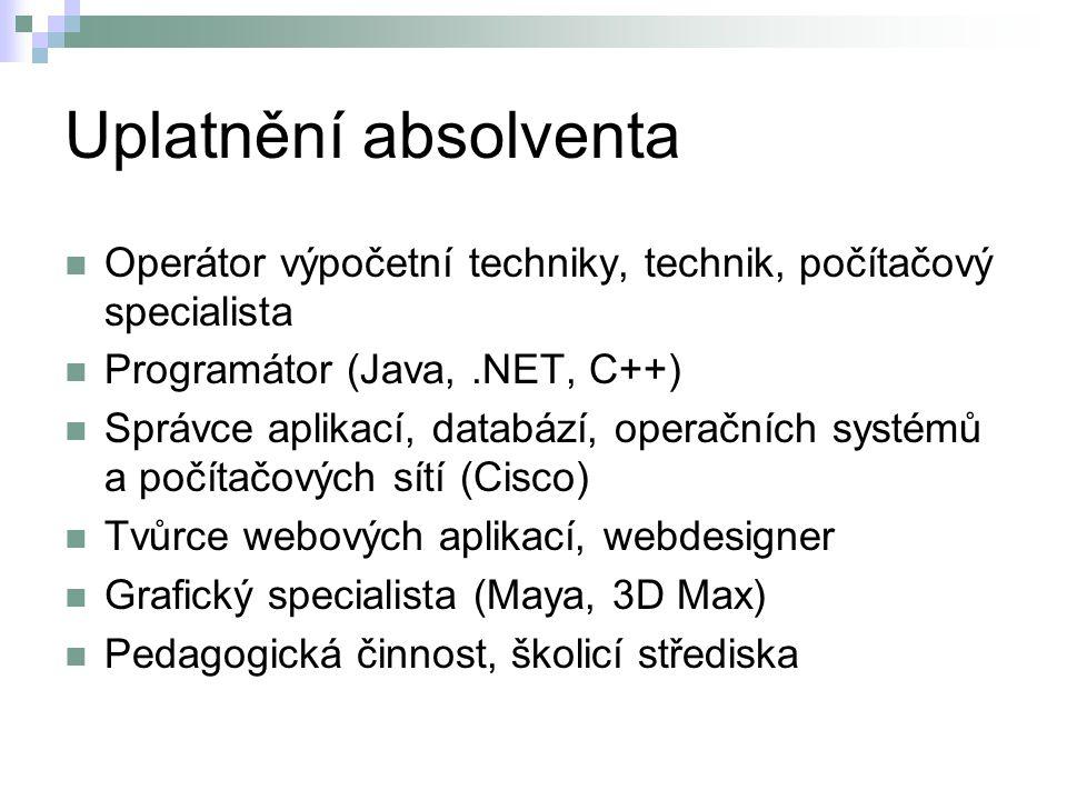 Uplatnění absolventa Operátor výpočetní techniky, technik, počítačový specialista. Programátor (Java, .NET, C++)