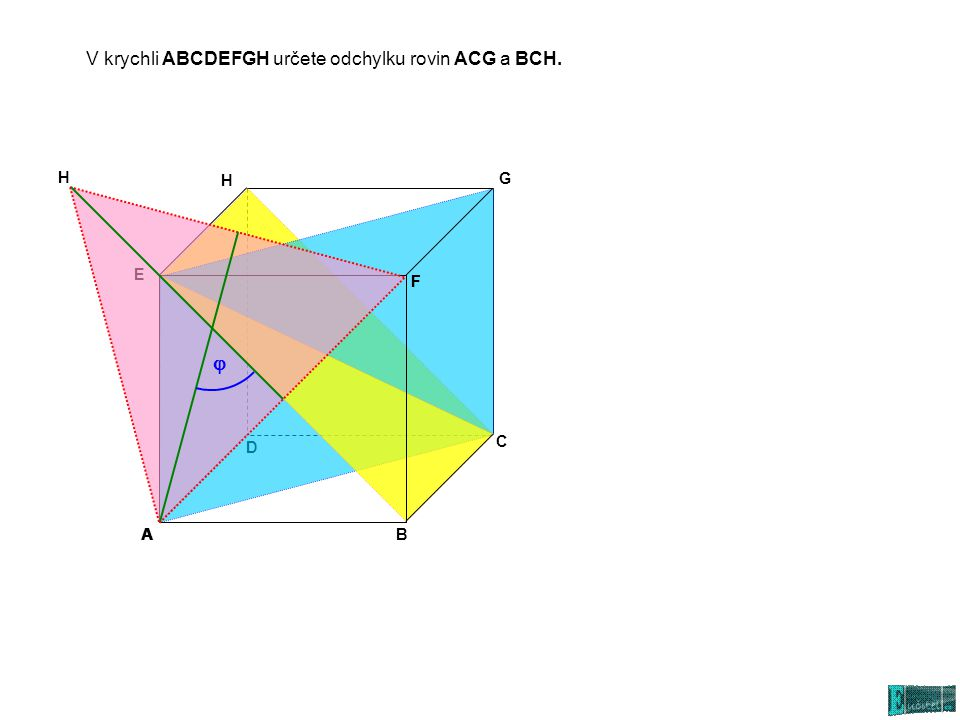 j V krychli ABCDEFGH určete odchylku rovin ACG a BCH. H F A H G E F D