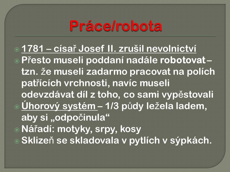 Práce/robota 1781 – císař Josef II. zrušil nevolnictví