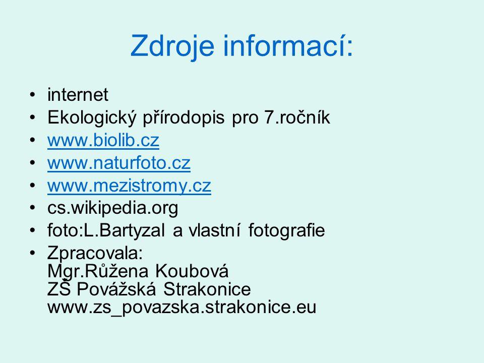 Zdroje informací: internet Ekologický přírodopis pro 7.ročník