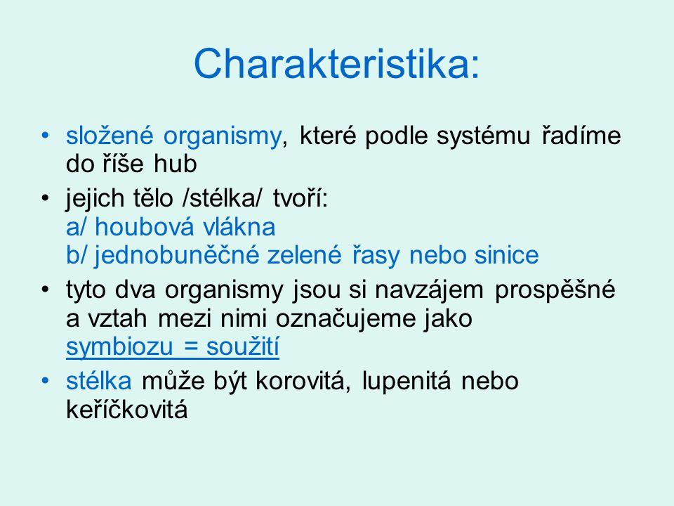 Charakteristika: složené organismy, které podle systému řadíme do říše hub.