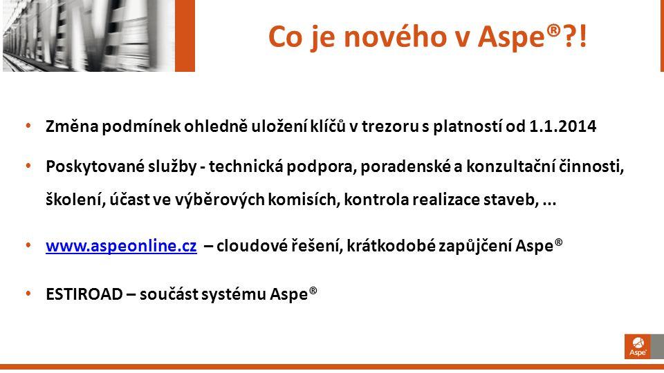 Co je nového v Aspe® ! Změna podmínek ohledně uložení klíčů v trezoru s platností od 1.1.2014.