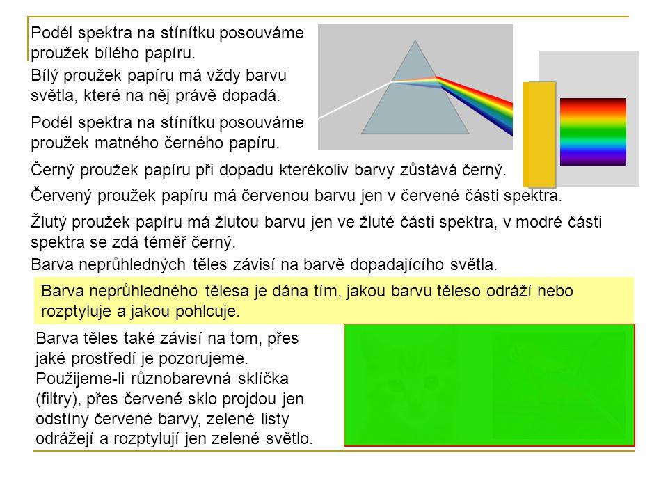 Podél spektra na stínítku posouváme proužek bílého papíru.