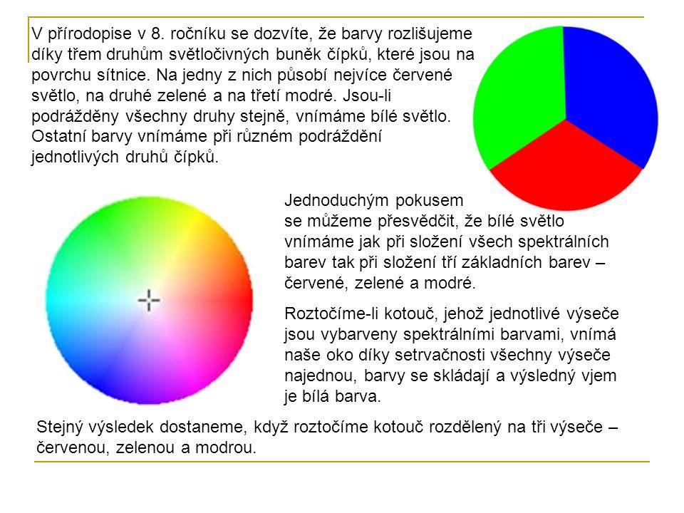 V přírodopise v 8. ročníku se dozvíte, že barvy rozlišujeme díky třem druhům světločivných buněk čípků, které jsou na povrchu sítnice. Na jedny z nich působí nejvíce červené světlo, na druhé zelené a na třetí modré. Jsou-li podrážděny všechny druhy stejně, vnímáme bílé světlo. Ostatní barvy vnímáme při různém podráždění jednotlivých druhů čípků.
