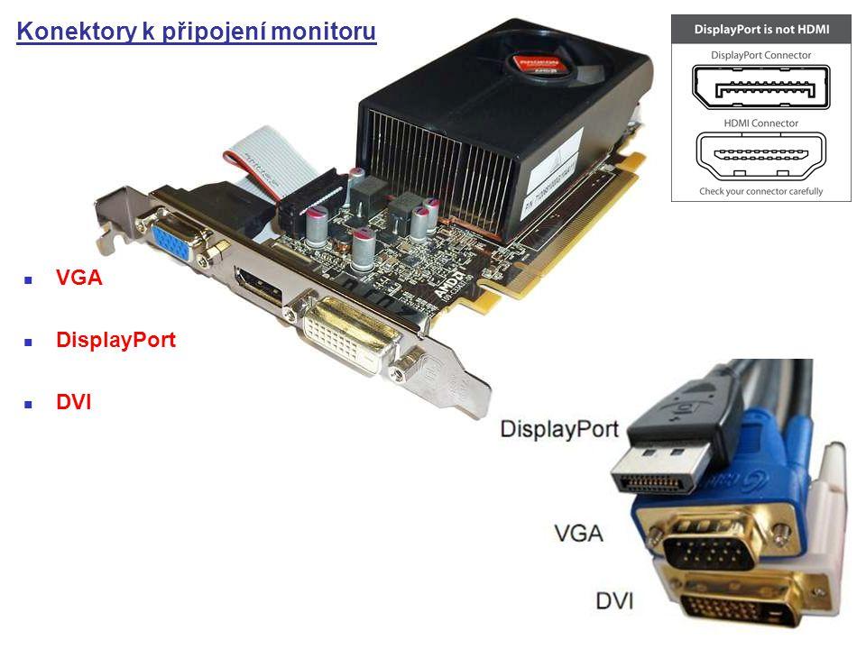 Konektory k připojení monitoru