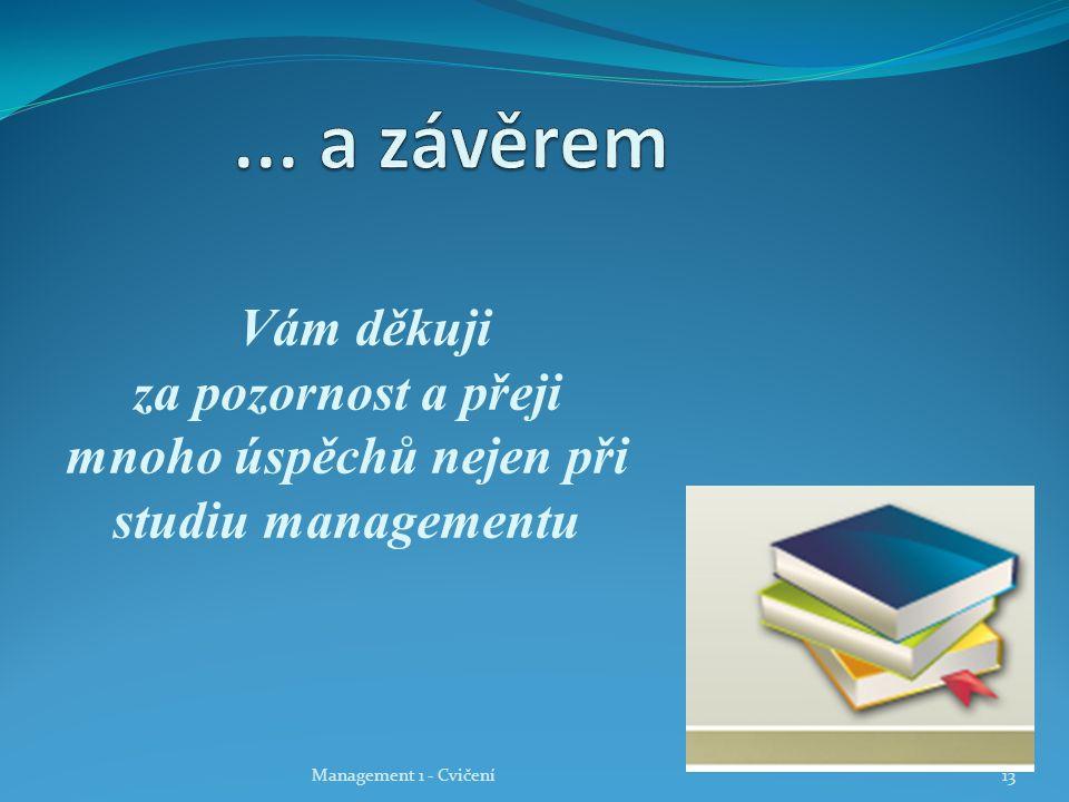 ... a závěrem Vám děkuji za pozornost a přeji mnoho úspěchů nejen při studiu managementu.