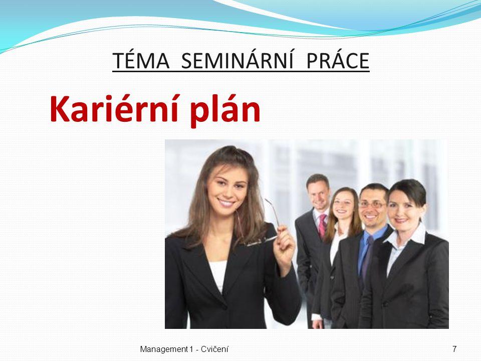 TÉMA SEMINÁRNÍ PRÁCE Kariérní plán Management 1 - Cvičení