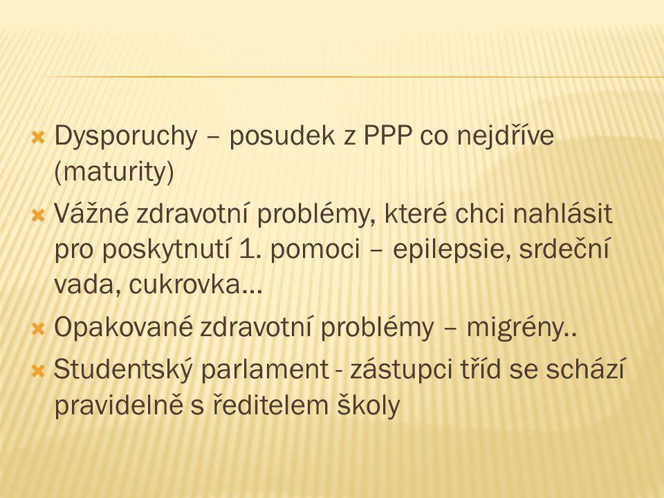 Dysporuchy – posudek z PPP co nejdříve (maturity)