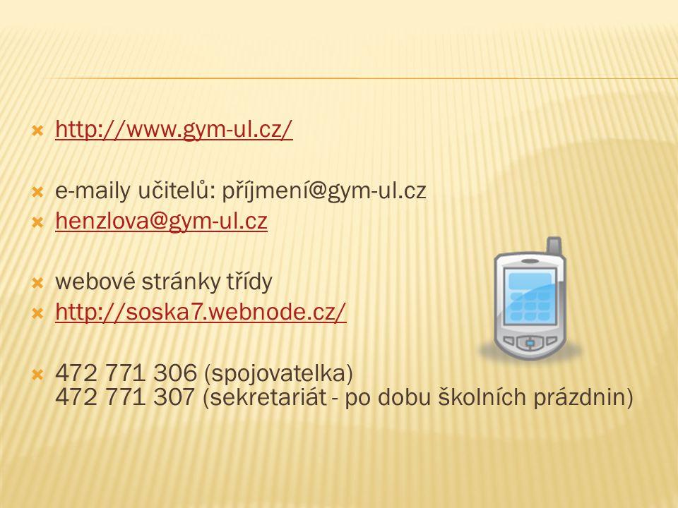 http://www.gym-ul.cz/ e-maily učitelů: příjmení@gym-ul.cz. henzlova@gym-ul.cz. webové stránky třídy.